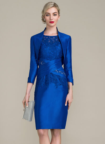 Sheath/Column Scoop Neck Knee-Length Taffeta Lace Mother of the Bride Dress With Ruffle Beading Sequins