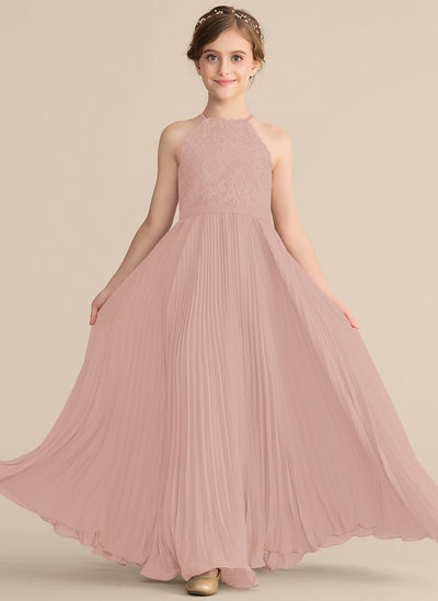 A-Line/Princess Scoop Neck Floor-Length Chiffon Lace Junior Bridesmaid Dress With Pleated