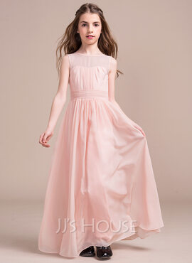 A-Line/Princess Scoop Neck Floor-Length Chiffon Junior Bridesmaid Dress With Ruffle (009081145)
