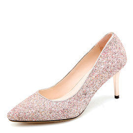 Women's Sparkling Glitter Stiletto Heel Pumps Closed Toe With Others shoes (085188306)