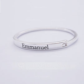 Personalized Unisex Chic 925 Sterling Silver With Round Engraved Bracelets Bracelets For Bride/For Bridesmaid/For Friends (011206368)