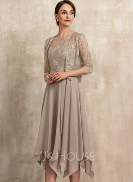A-Line Scoop Neck Tea-Length Chiffon Lace Mother of the Bride Dress With Bow(s) (008217289)