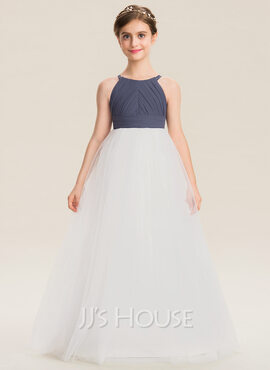 A-Line Scoop Neck Floor-Length Chiffon Tulle Junior Bridesmaid Dress With Ruffle (009173309)