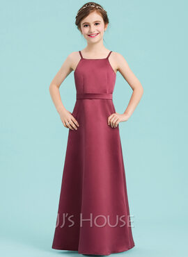 A-Line Square Neckline Floor-Length Satin Junior Bridesmaid Dress With Bow(s) (009148424)