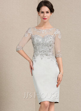 Sheath/Column Scoop Neck Knee-Length Satin Lace Mother of the Bride Dress (008143386)