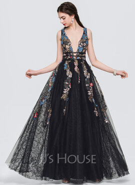 A-Line V-neck Floor-Length Evening Dress With Lace Beading Sequins (017154027)