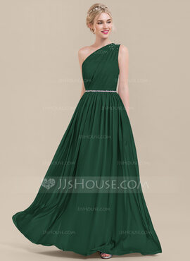 A-Line One-Shoulder Floor-Length Chiffon Bridesmaid Dress With Ruffle Beading Sequins (007116664)