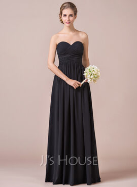 A-Line/Princess Sweetheart Floor-Length Chiffon Bridesmaid Dress With Ruffle (007056565)