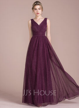 A-Line/Princess V-neck Floor-Length Tulle Bridesmaid Dress With Ruffle (007104712)