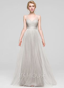 A-Line/Princess V-neck Floor-Length Tulle Bridesmaid Dress (007090200)