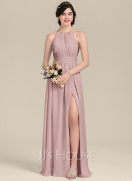 A-Line Scoop Neck Floor-Length Chiffon Bridesmaid Dress With Ruffle Bow(s) Split Front (007126442)