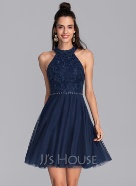 A-Line Scoop Neck Short/Mini Tulle Homecoming Dress With Beading Sequins (022206511)