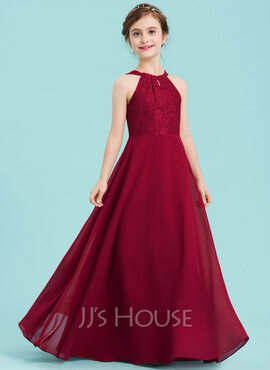 A-Line Scoop Neck Floor-Length Chiffon Junior Bridesmaid Dress (009148410)