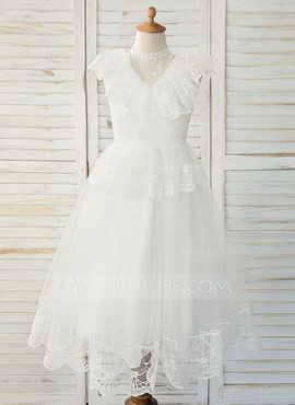 A-Line Tea-length Flower Girl Dress - Tulle/Lace Sleeveless Scoop Neck With Ruffles