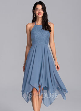 A-Line Halter Asymmetrical Chiffon Homecoming Dress (022206547)