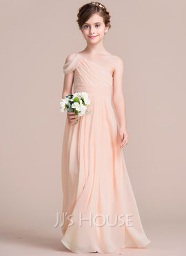 A-Line One-Shoulder Floor-Length Chiffon Junior Bridesmaid Dress With Ruffle (009095090)