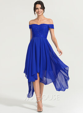 Off-the-Shoulder Asymmetrical Chiffon Cocktail Dress With Beading (270204268)