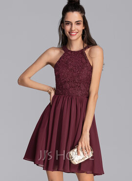 A-Line Scoop Neck Short/Mini Chiffon Homecoming Dress (022206544)
