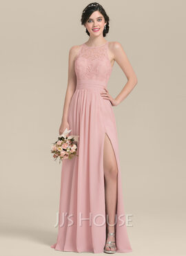 A-Line/Princess Scoop Neck Floor-Length Chiffon Lace Bridesmaid Dress With Ruffle Split Front (007126443)