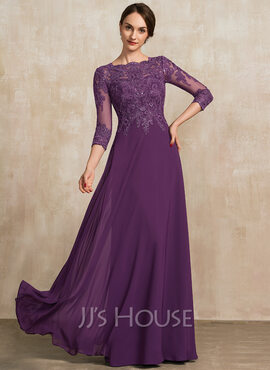 A-Line Scoop Neck Floor-Length Chiffon Lace Mother of the Bride Dress With Sequins (008217324)