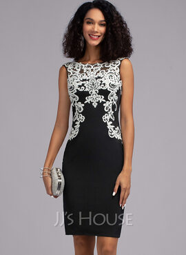 Sheath/Column Scoop Neck Knee-Length Jersey Cocktail Dress (016205793)