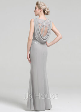 Sheath/Column Scoop Neck Floor-Length Chiffon Lace Evening Dress With Ruffle Beading Sequins (017093481)