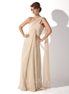 Empire One-Shoulder Floor-Length Chiffon Mother of the Bride Dress With Ruffle (008006223)