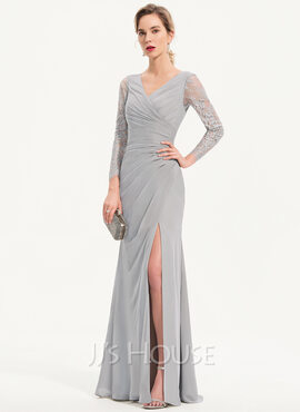 Sheath/Column V-neck Floor-Length Chiffon Evening Dress With Split Front (017186152)