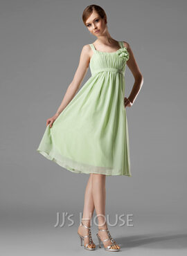 Empire Scoop Neck Knee-Length Chiffon Bridesmaid Dress With Ruffle Flower(s) Bow(s) (007004129)