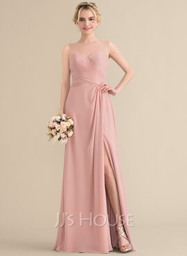A-Line/Princess Scoop Neck Floor-Length Chiffon Bridesmaid Dress With Ruffle Beading Sequins Split Front (266183753)
