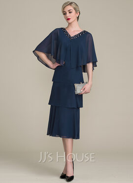 A-Line/Princess V-neck Tea-Length Chiffon Mother of the Bride Dress With Cascading Ruffles (008102695)