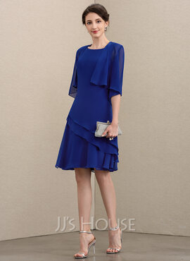 A-Line Scoop Neck Knee-Length Chiffon Mother of the Bride Dress With Cascading Ruffles (008195383)
