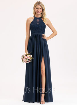 A-Line Scoop Neck Floor-Length Chiffon Lace Evening Dress With Split Front (017221852)