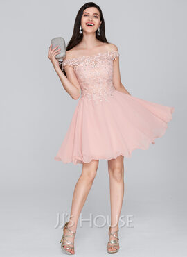 A-Linie/Princess-Linie Off-the-Schulter Kurz/Mini Chiffon Cocktailkleid mit Perlstickerei Pailletten (016133080)