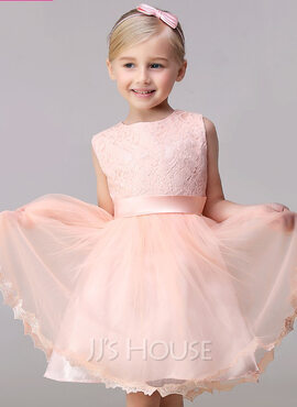 A-Line/Princess Knee-length Flower Girl Dress - Tulle/Lace Sleeveless Jewel With Bow(s) (010092148)