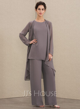 Jumpsuit/Pantsuit Scoop Neck Floor-Length Chiffon Mother of the Bride Dress (008179214)