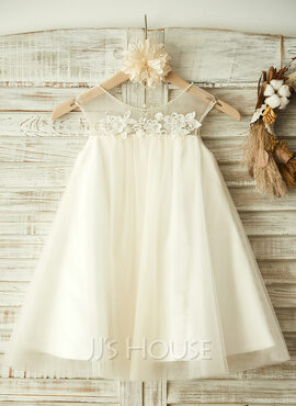 A-Line/Princess Knee-length Flower Girl Dress - Tulle Sleeveless Scoop Neck With Beading/Appliques