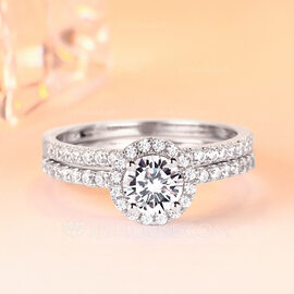 925 Sterling Silver With Round Cubic Zirconia Rings/Promise Rings/Bridal Sets/Stackable Rings For Bride (011224450)