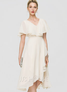 A-Line V-neck Asymmetrical Chiffon Cocktail Dress With Bow(s) Cascading Ruffles (016189318)