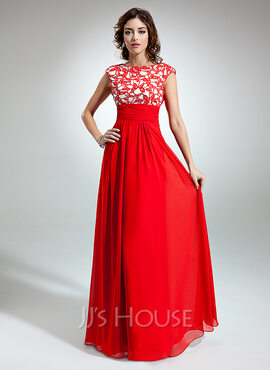 A-Line/Princess Scoop Neck Floor-Length Chiffon Holiday Dress With Ruffle Lace (020032261)