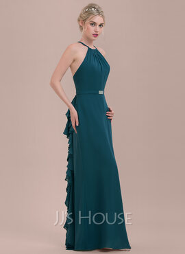 A-Line/Princess Scoop Neck Floor-Length Chiffon Bridesmaid Dress With Beading Cascading Ruffles (007116640)