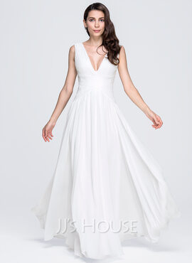 A-Line/Princess V-neck Floor-Length Chiffon Evening Dress With Ruffle (017071582)