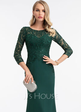 Sheath/Column Scoop Neck Floor-Length Stretch Crepe Evening Dress With Sequins (017198646)