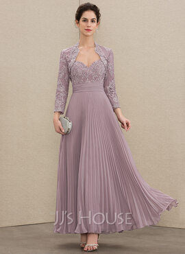 A-Line Sweetheart Ankle-Length Chiffon Lace Mother of the Bride Dress With Pleated (008179187)