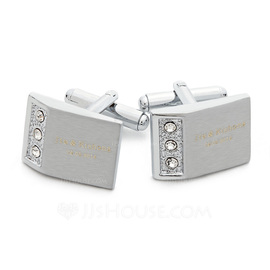 Personalized With Rhinestones Stainless Steel Cufflinks (Set of 2) (118031920)