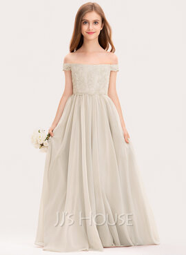A-Line Off-the-Shoulder Floor-Length Chiffon Lace Junior Bridesmaid Dress (009191741)