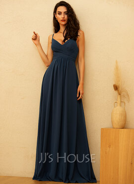 A-Line V-neck Floor-Length Chiffon Prom Dresses With Ruffle (018229931)