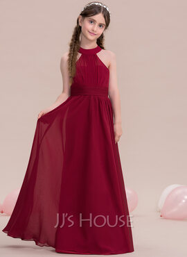 A-Line Scoop Neck Floor-Length Chiffon Junior Bridesmaid Dress (009119586)