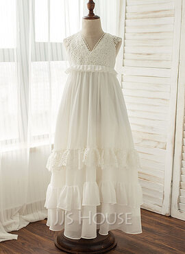 A-Line/Princess Floor-length Flower Girl Dress - Chiffon Sleeveless V-neck With Lace (010119457)