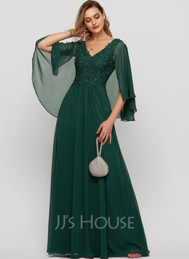 A-Line V-neck Floor-Length Chiffon Evening Dress With Beading Sequins (017209150)